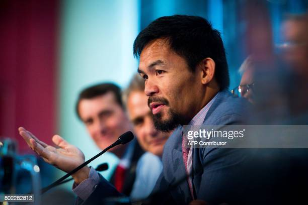 Philippine boxer Manny Pacquiao speaks during a press conference to promote his WBO Welterweight title fight against Australian challenger Jeff Horn...