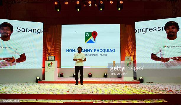 Philippine boxing icon Manny Pacquiao speaks during a presentation of the Google Street View service at a hotel in Manila on September 16 2015...