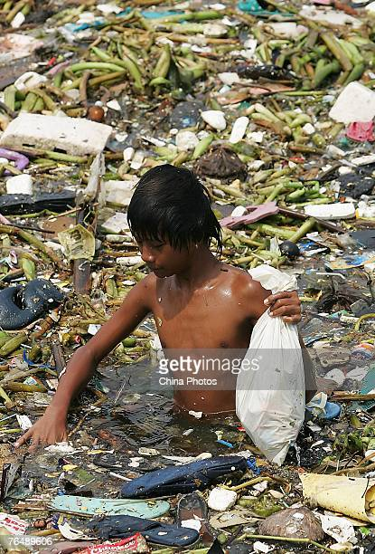 A Philippine boy picks plastic waste from floating rubbish on the water near the Roxas Boulevard along the Manila Bay on August 24 2007 in Manila...