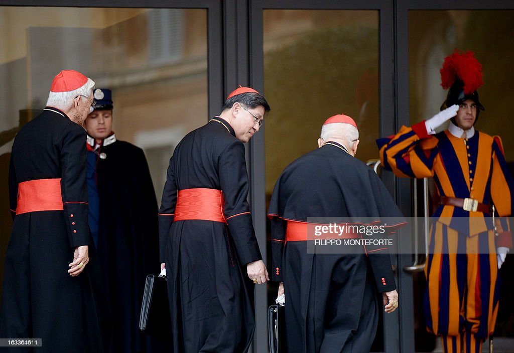 Philippine Cardinal Luis Antonio Tagle arrives for an afternoon meeting of preconclave on March 8 2013 at the Vatican Cardinals from around the globe...