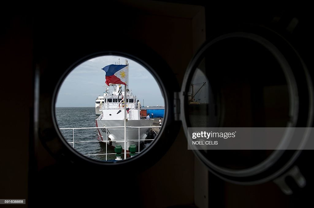 Philippine Coast Guards first ever multirole response vessel called the BRP Tubbataha arrives at the port in Manila on August 18 2016 The 44meter...