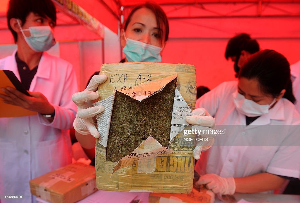 A Philippine Drug Enforcement Agency (PDEA) chemist shows a brick of seized marijuana before the marijuana and other dangerous drugs were destroyed using thermal decomposition in Manila on July 25, 2013. PDEA destroyed 22.33 million USD worth of dangerous drugs composed of methamphetamine hydrochloride, cocaine, marijuana, ecstasy, valium and expired medicines. AFP PHOTO/NOEL CELIS