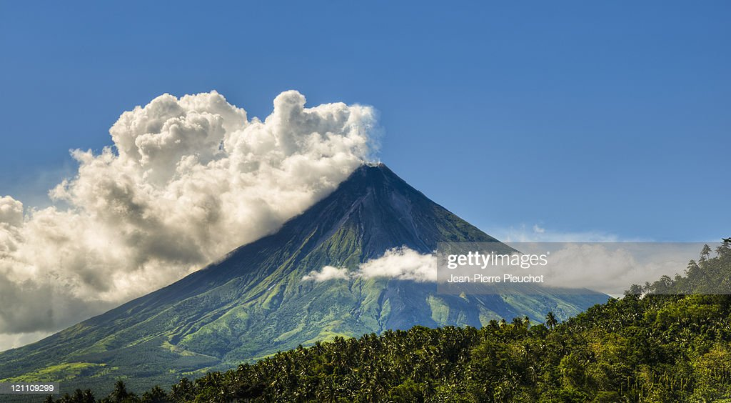 Philippine Mayon volcano Donsol district : Stock Photo