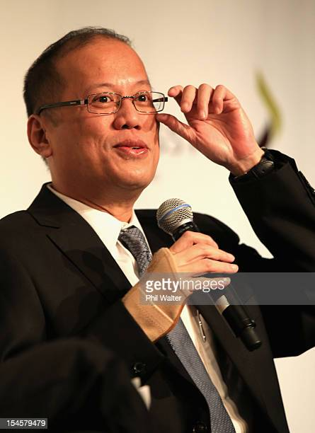 Philippine President Benigno Aquino III addresses the PhilippinesNZ Business Forum at the Sky City Convention Centre on October 23 2012 in Auckland...