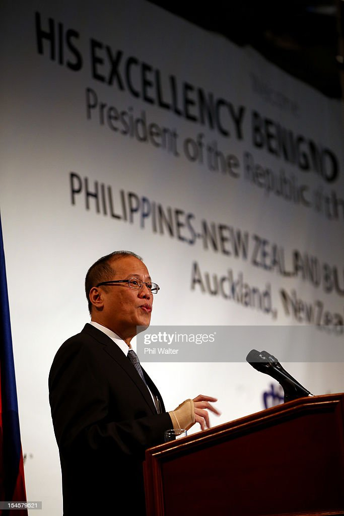 Philippine President Benigno Aquino III addresses the Philippines-NZ Business Forum at the Sky City Convention Centre on October 23, 2012 in Auckland, New Zealand. President Aquino is in New Zealand and Australia this week for trade talks, returning to the Philippines on Friday.