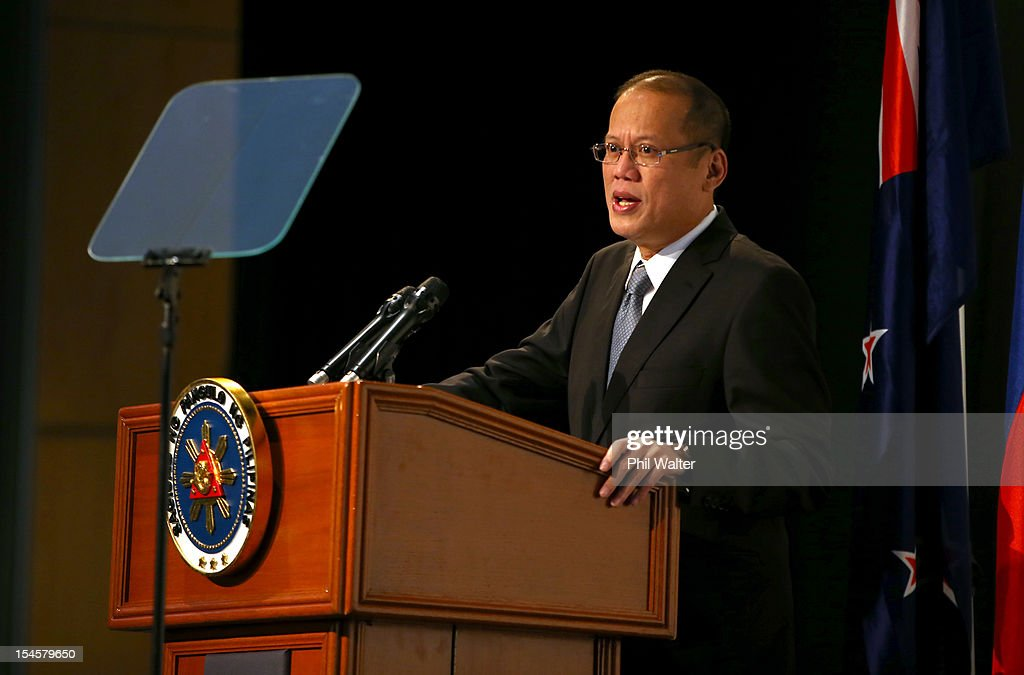 Philippine President <a gi-track='captionPersonalityLinkClicked' href=/galleries/search?phrase=Benigno+Aquino+III&family=editorial&specificpeople=3760869 ng-click='$event.stopPropagation()'>Benigno Aquino III</a> addresses the Philippines-NZ Business Forum at the Sky City Convention Centre on October 23, 2012 in Auckland, New Zealand. President Aquino is in New Zealand and Australia this week for trade talks, returning to the Philippines on Friday.