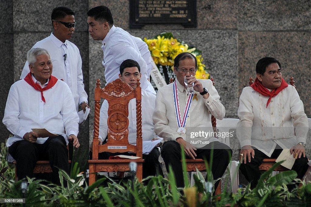 Philippine President Benigno Aquino III drinks water during a ceremony marking Filipino nationalist Andres Bonifacio's 150th birth anniversary in...