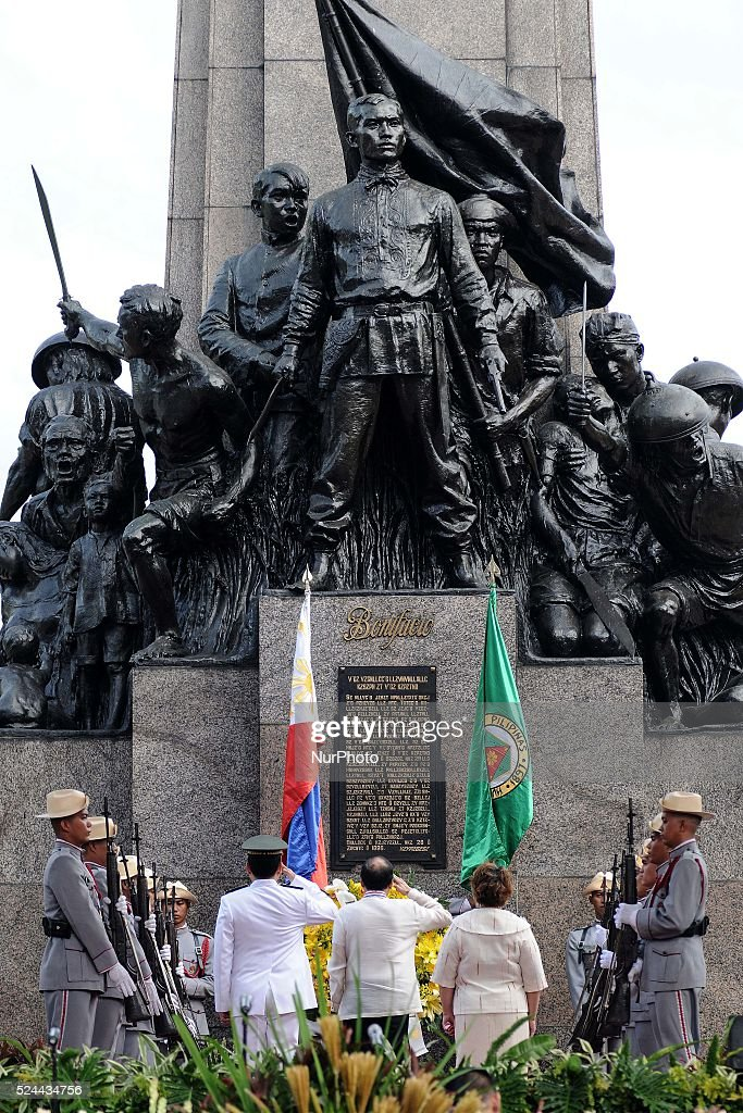 Philippine President Benigno Aquino III observes the wreathe laying ceremony in front of the monument of Filipino nationalist Andres Bonifacio in...