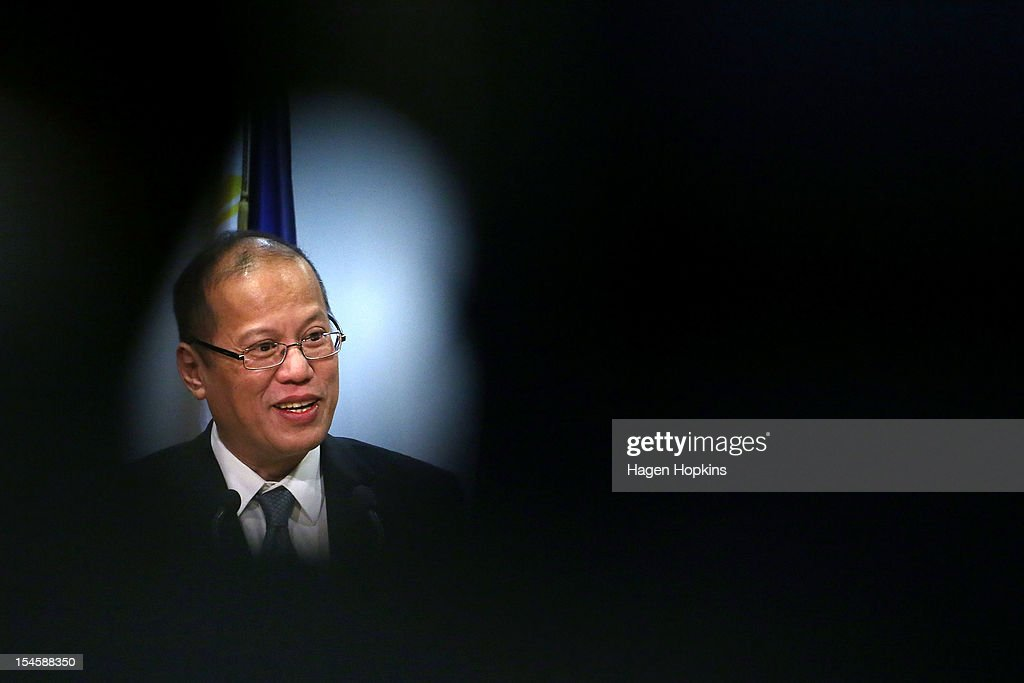 Philippine President <a gi-track='captionPersonalityLinkClicked' href=/galleries/search?phrase=Benigno+Aquino+III&family=editorial&specificpeople=3760869 ng-click='$event.stopPropagation()'>Benigno Aquino III</a> talks to media at The Beehive on October 23, 2012 in Wellington, New Zealand. Aquino is in New Zealand and Australia this week for trade talks, returning to the Philippines Friday.