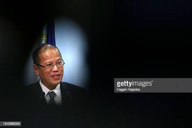 Philippine President Benigno Aquino III talks to media at The Beehive on October 23 2012 in Wellington New Zealand Aquino is in New Zealand and...