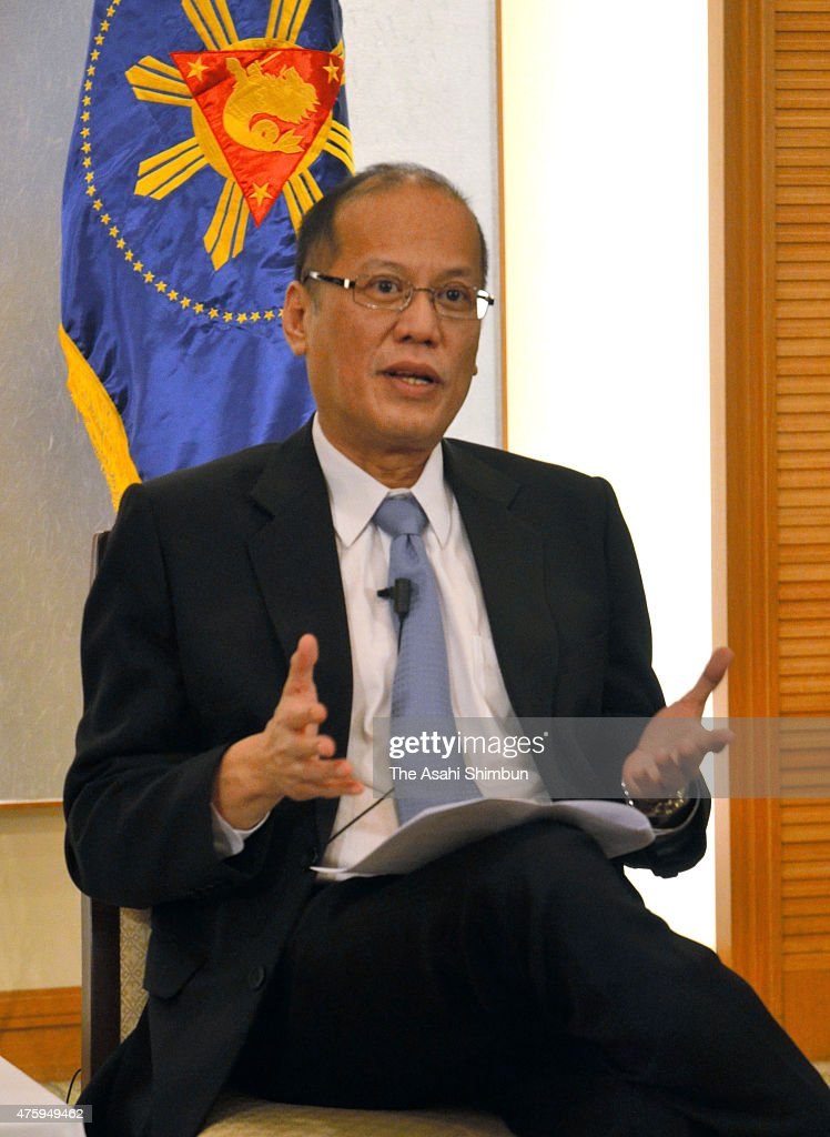 Philippine President Benigno Aquino speaks during a group interview on June 4, 2015 in Tokyo, Japan. Aquino is on four-day tour to Japan.