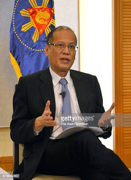 Philippine President Benigno Aquino speaks during a group interview on June 4 2015 in Tokyo Japan Aquino is on fourday tour to Japan