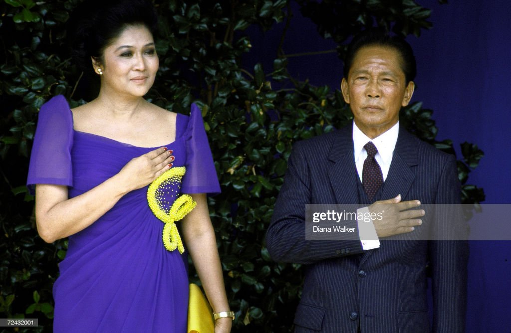 Philippine President Ferdinand Marcos with wife Imelda during visit at the Pentagon.