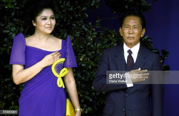 Philippine President Ferdinand Marcos with wife Imelda during visit at the Pentagon