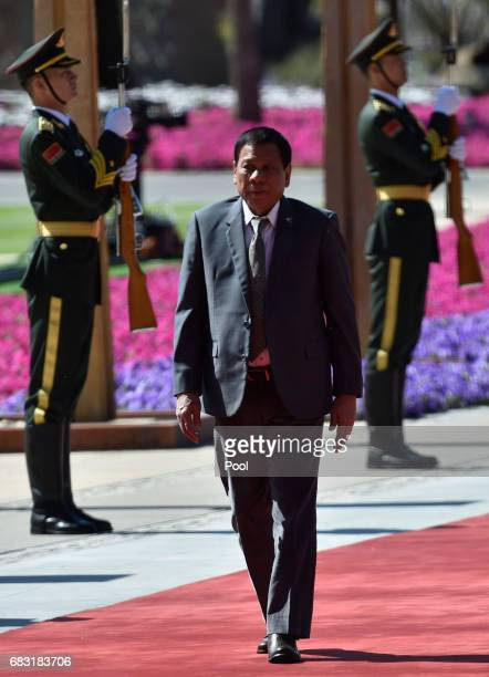 Philippine President Rodrigo Duterte arrives at the Belt and Road Forum at the International Conference Center in Yanqi Lake on May 15 2017 on the...