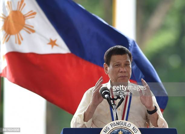 Philippine President Rodrigo Duterte delivers an address at the National Heroes' Cemetery as part of commemorations for National Heroes' Day in...