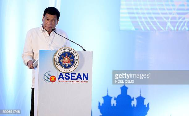 Philippine President Rodrigo Duterte delivers his address during the Association of Southeast Asian Nations Business and Investment Summit in...