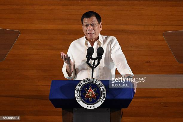 Philippine President Rodrigo Duterte delivers his State of the Nation Address at Congress in Manila on July 25 2016 President Duterte vowed July 25...