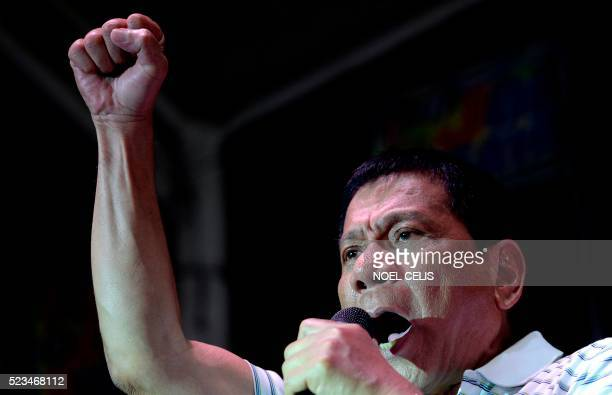 Philippine presidential frontrunner candidate Rodrigo Duterte states his political platforms during a campaign in Manila on April 23 2016 Philippine...