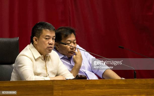 Philippine Senate President Aquilino Pimintel and House Speaker Pantaleon Alvarez preside over the joint session on martial law at the House of...