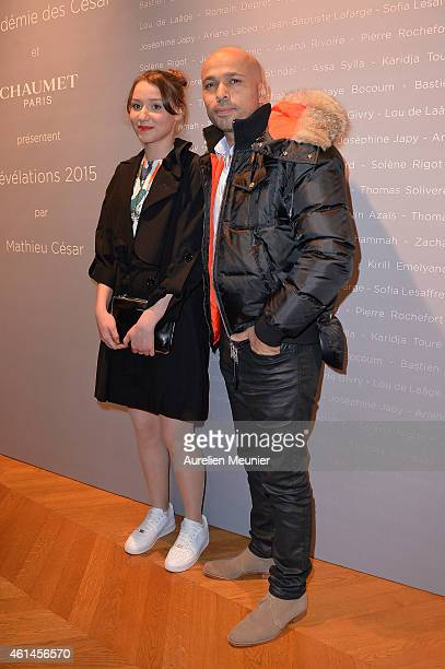 Philippine Stindel and Eric Judor attend the 'Cesar Revelations 2015' Cocktail Party at Salons Chaumet on January 12 2015 in Paris France