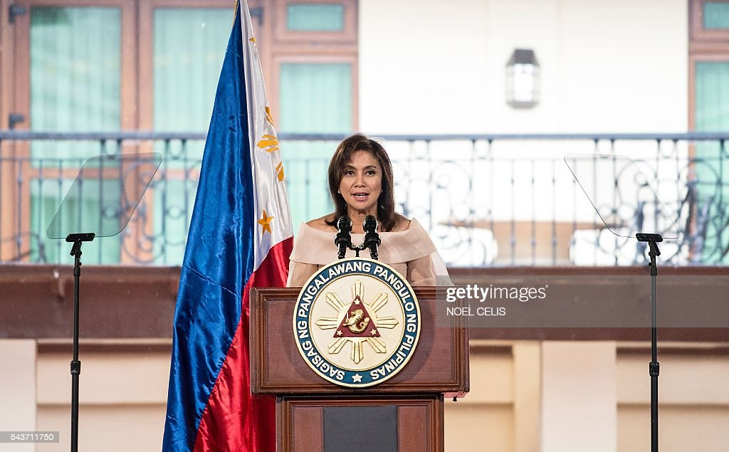 Philippine Vice President Leni Robredo gives a speech during her Inauguration ceremonies at the Quezon City Recepotion House in Manila on June 30, 2016. / AFP / NOEL