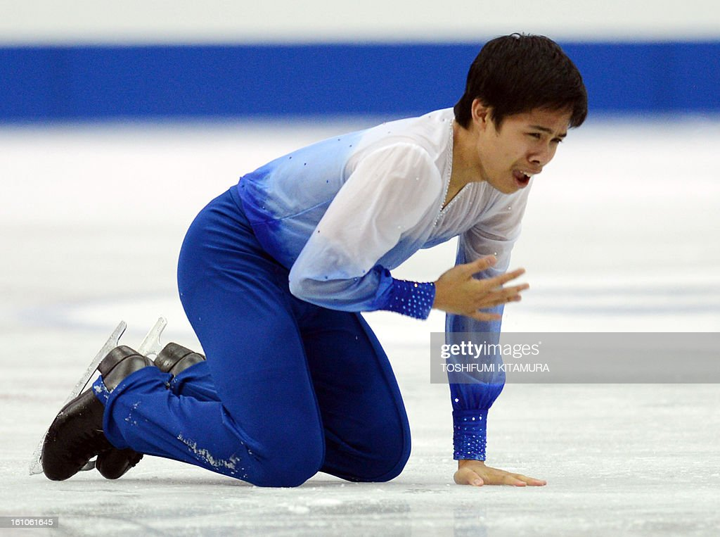 Philippines' Christopher Caluza reacts after his free skating performance in the men's event during the Four Continents figure skating championships in Osaka on February 9, 2013. AFP PHOTO / TOSHIFUMI KITAMURA
