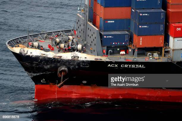 Philippines container ship ACX Crystal which bow is damaged is seen after the collision with USS Fitzgerald on June 17 2017 in Shimoda Shizuoka Japan...