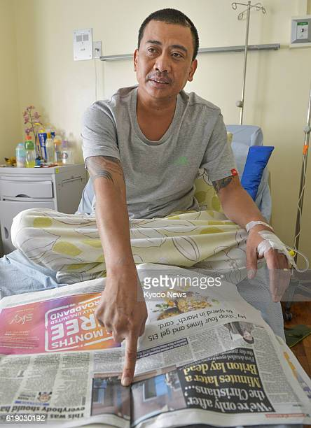 MANILA Philippines Joseph Balmaceda a Filipino survivor of a recent hostage crisis in Algeria gives an interview to Kyodo News at a hospital in the...