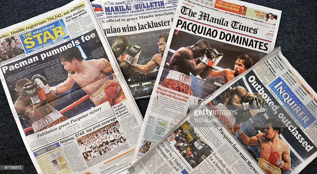 Philippines newpapers headline with the news of the welterweight bout between Philippines boxing superstar Manny Pacquiao and Joshua Clottey of Ghana...