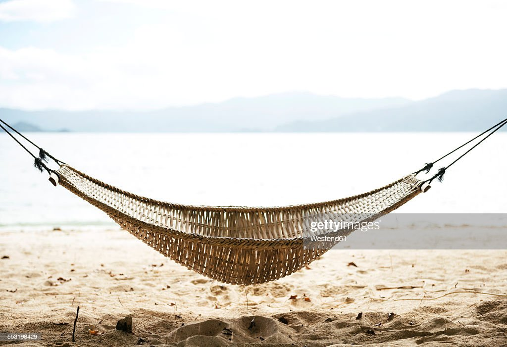 Philippines, Palawan, hammock on a beach near El Nido