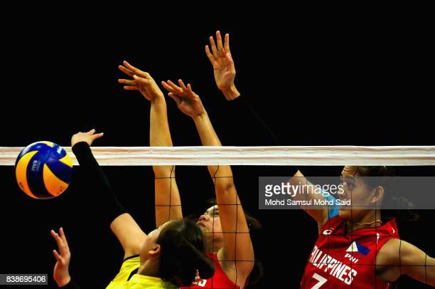 Philippines player competes against Vietnam player during the Women's team event as part of the 2017 SEA Games on August 25 2017 in Kuala Lumpur...