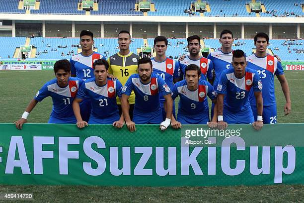 Philippines poses before kick off during the 2014 AFF Suzuki Cup Group A match between the Philippines and Laos at the My Dinh Stadium on November 22...