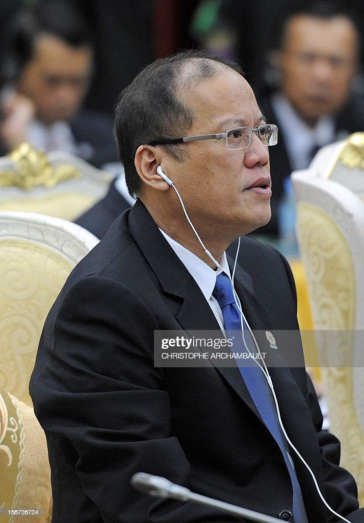 Philippines' President Benigno Aquino attends the Association of Southeast Asian Nations (ASEAN) Global Dialogue meeting as part of the ASEAN and related summits in Phnom-Penh on November 20, 2012. Asian leaders feuded over how to handle tense maritime territorial disputes with China, overshadowing talks at a regional summit meant to strengthen trade and political ties. AFP PHOTO/Christophe ARCHAMBAULT