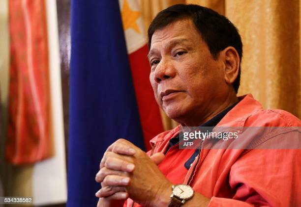 Philippines' presidentelect Rodrigo Duterte speaks during a press conference in Davao City in southern island of Mindanao on May 26 2016 Explosive...