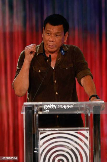 Philippines' presidential candidate Mayor Rodrigo Duterte speaks during the presidential debate at the Phinma University of Pangasinan in Dagupan...