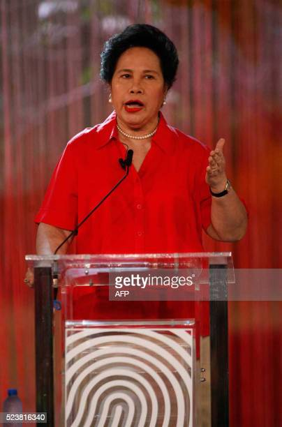 Philippines' presidential candidate Senator Miriam Santiago speaks during the presidential debate at the Phinma University of Pangasinan in Dagupan...