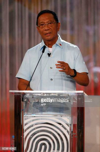 Philippines' presidential candidate VicePresident Jejomar Binay speaks during the presidential debate at the Phinma University of Pangasinan in...
