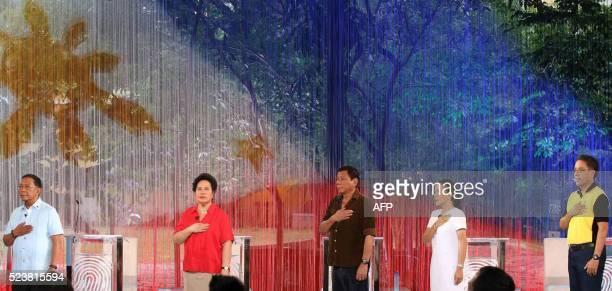 Philippines' presidential candidates VicePresident Jejomar Binay Senator Miriam Santiago Mayor Rodrigo Duterte Senator Grace Poe and former interior...