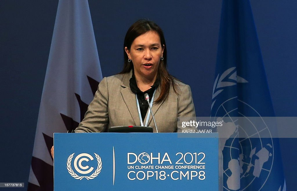 Philippines' Vice-Chairperson and Executive Director of the Climate Change Commission Mary Ann Limpot Sering, addresses delegates during the penultimate day of the United Nations Framework Convention on Climate Change (UNFCCC) in the Qatari capital Doha, on December 6, 2012. Negotiators from nearly 200 countries entered the penultimate day of UN climate talks in Doha divided on near-term finance for poor nations' global warming mitigation plans. AFP PHOTO /KARIM JAAFAR / AL-WATAN DOHA == QATAR OUT ==