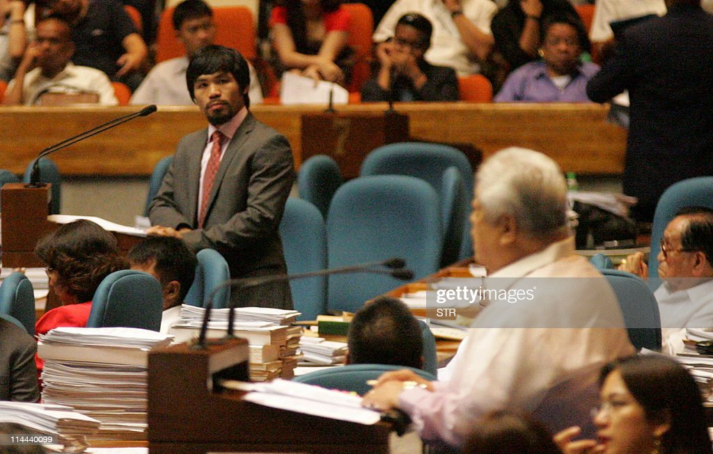 STORY 'PhilippinespoliticspopulationboxPacquiaoPHIFOCUS' by Mynardo MacaraigIn this photo taken on May 18 2011 Philippine boxer and congressman Manny...