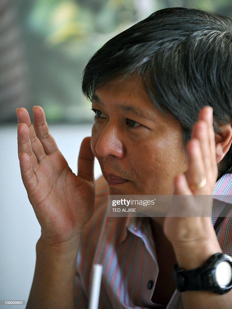 STORY 'Philippines-politics-vote-Marcos' by Karl Malakunas Ferdinand 'Bongbong' Marcos Jnr, newly elected Philippine Senator and son of the late president Ferdinand Marcos, gestures during an interview with AFP in Manila on May 19, 2010. His name was poison not long ago but Marcos Jnr says he could one day be president of the Philippines after elections showed him to be one of the nation's most popular politicians.