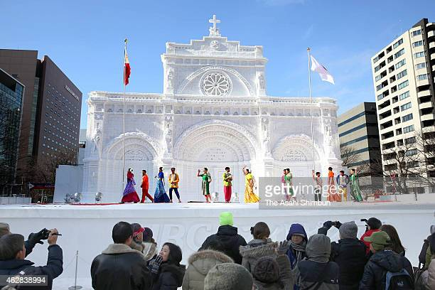 Philippino dancers perform during the 66th Sapporo Snow Festival at Odori Park on February 6 2015 in Sapporo Japan The annual festival expects to...