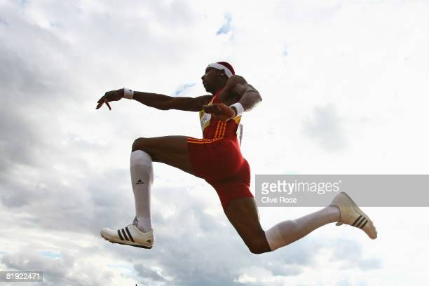 Philips Idowu of Great Britain in action during the Mens Triple Jump at the Aviva National Championships Olympic Trials at Alexander Stadium on July...