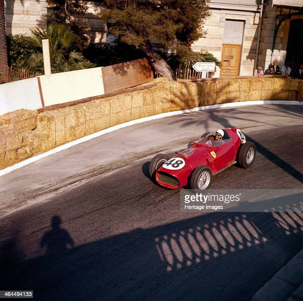 Phill Hill racing a Ferrari D246 Monaco Grand Prix Monte Carlo 1959 Photographed from a balcony the shadow of which can be seen in the picture Hill...