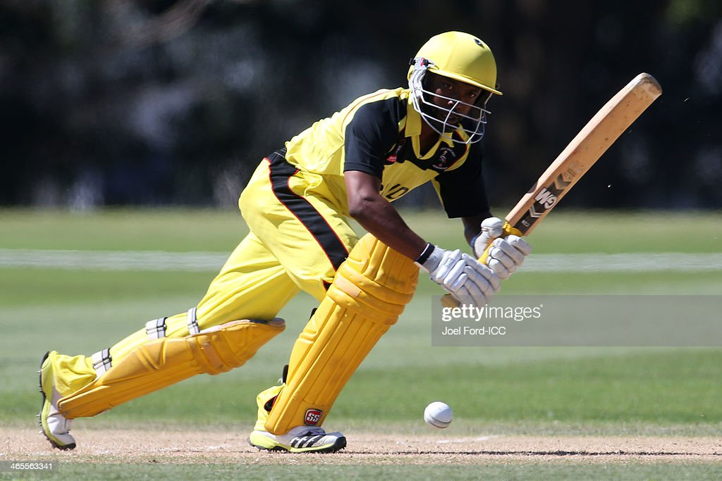 Phillemon Selowa Mukobe of Uganda plays a shot during an ICC World Cup qualifying playoff between Uganda and Nepal on January 28, 2014 in Mount Maunganui, New Zealand.