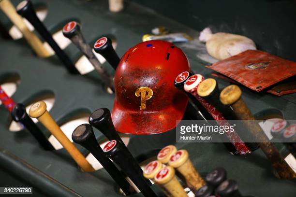 Phillies batting helmet covered in pine tar rests on the bat rack during game two of a doubleheader between the Miami Marlins and the Philadelphia...
