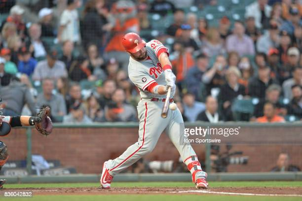 Phillies Catcher Cameron Rupp connects with a ball during the San Francisco Giants game versus the Philadelphia Phillies on August 17 at ATT Park in...