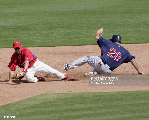 Phillies infielder Andrew Beattie fields the ball out of the dirt to get the force out on Red Sox catcher Doug Mirabelli in a spring training game on...