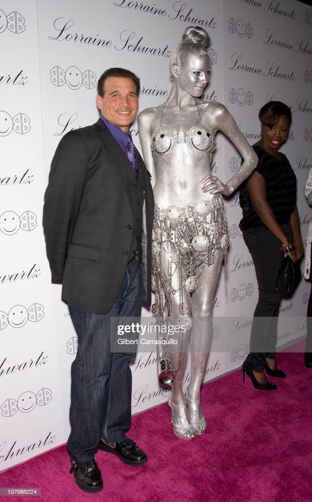 Phillip Bloch a model and singer Estelle attend the launch of Lorraine Schwartz's '2BHAPPY' jewelry collection at Lavo NYC on November 22 2010 in New...
